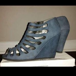 Blue Wedged Heels
